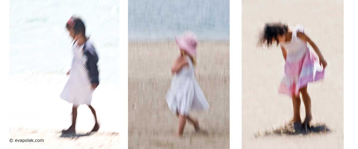 Little girls on the beach impressionist style